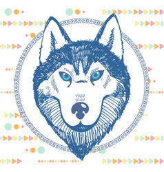 hand-drawn portrait of a husky in a circle vector image