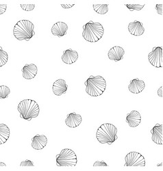 hand drawn - seamless pattern of seashells marine vector image