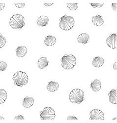 Hand drawn - seamless pattern of seashells marine vector