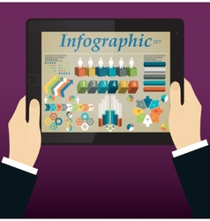 Hands holding a tablet Abstract Info graphic vector image