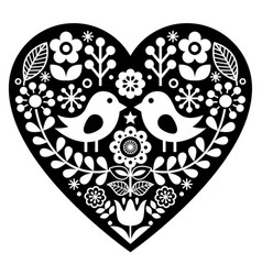 Heart with love birds vector