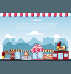 ice cream shop set buildings facades vector image