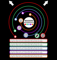 Infographic template in circle design process vector