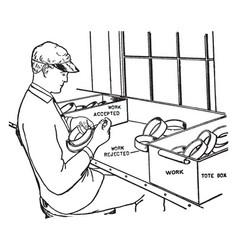Inspecting caliper vintage vector