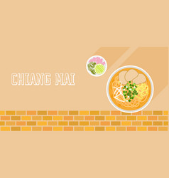khao soi coconut curry noodle soup with beef vector image