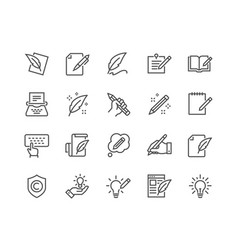 line copywriting icons vector image