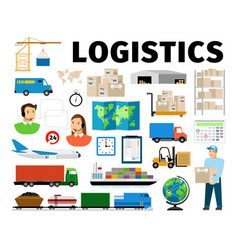 Logistics elements isolated on white vector