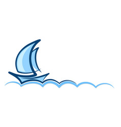 Logo blue sailboat vector
