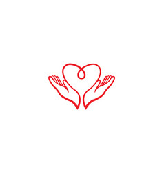 Love blood and hands up for care logo design vector