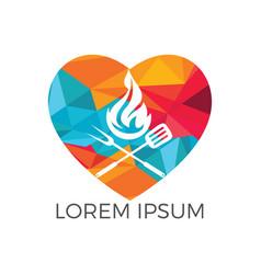 Love grill logo design concept vector