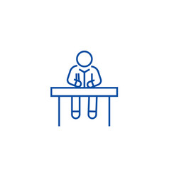 man sitting at office desk line icon concept man vector image