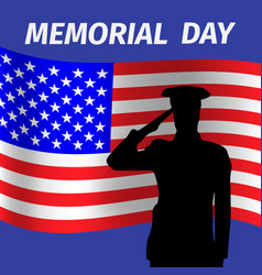 memorial day design with saluting solder vector image vector image
