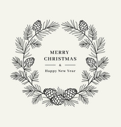merry christmas card winter wreath pine tree vector image