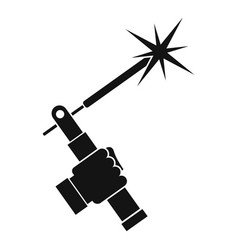 Mig welding torch in hand icon simple vector