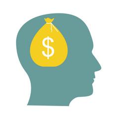 Money in head flat business concept vector