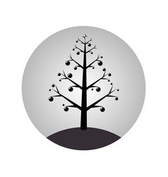 monochrome sphere with christmas tree with vector image