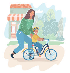 Mother teaching her son to cycling on the nature vector