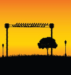nature with sparrow and street lights color vector image