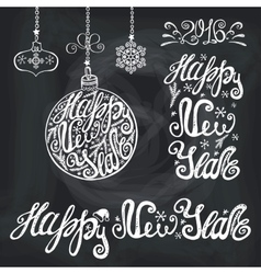New year letteringCards typography chalk elements vector image