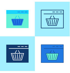 Online shopping icon set in flat and line style vector
