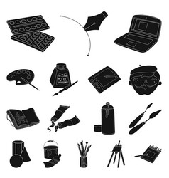 painter and drawing black icons in set collection vector image