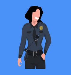 Police woman officer in uniform female cop vector