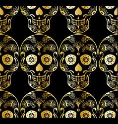 Seamless pattern of golden sugar skull vector