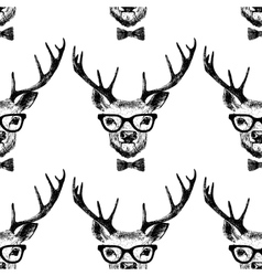 Seamless with hand drawn dressed up deer vector image