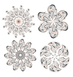 Set of circular floral ornaments patterns vector image