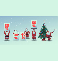 set of santa claus with vector image