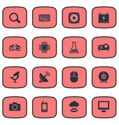Set of simple hitech icons vector