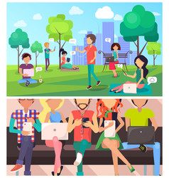 set people and technology in cartoon style vector image