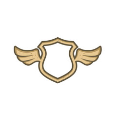 Shield protection with angel bird wing vector