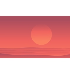 Silhouette of desert at sunrise scenery vector