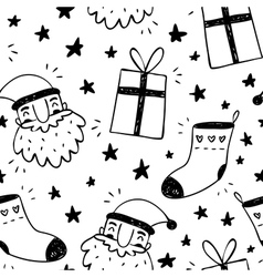 Sketchy seamless pattern with Santa Claus socks vector image