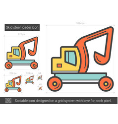 Skid steer loader line icon vector