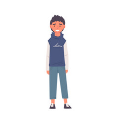 Smiling guy in jeans and hoodie happy student in vector