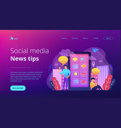Social media and news tips landing page vector