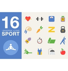 Sport and healthy life concept flat icon set of vector