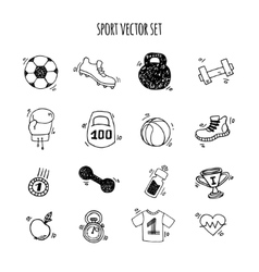 Sport hand drawn set white and black vector image vector image