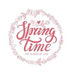 Spring time letteringPink doodle floral wreath vector image
