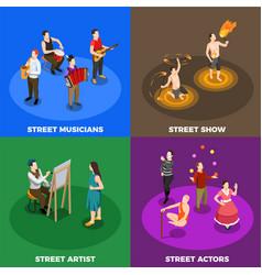 Street artist isometric design concept vector