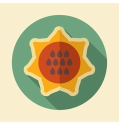 Sunflower retro flat icon with long shadow vector image
