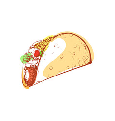 Tasty mexican taco isolated icon vector
