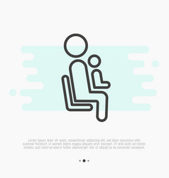 thin line icon of priority seat for mother vector image