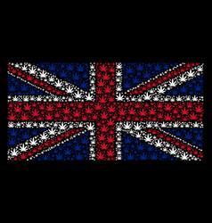 Uk flag mosaic of cannabis items vector