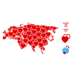 valentine europe and asia map collage of vector image