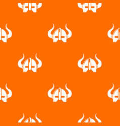 viking helmet pattern orange vector image