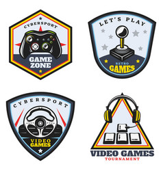 Vintage colored video game emblems set vector