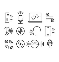 voice recognition icons vector image